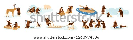 Bundle of Eskimo men, women and children in traditional folk costumes. Collection of northern indigenous people fishing, hunting bear, dancing, building igloo. Flat cartoon vector illustration.