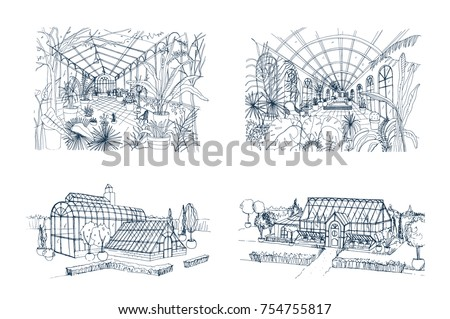 Bundle of freehand drawings of greenhouses full of jungle plants. Set of sketches of glasshouses with palm exotic trees growing in pots. Interior and exterior views. Monochrome vector illustration. ストックフォト ©