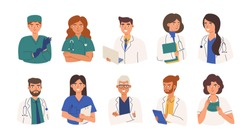 Bundle of friendly doctors wearing white coats and scurbs. Set of portraits of male and female medical workers, medics and paramedics - surgeons, physicians, nurses. Flat cartoon vector illustration.