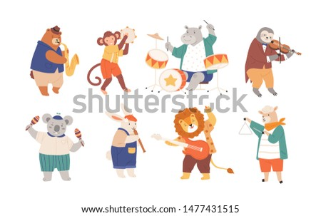 Bundle of funny animals playing musical instruments isolated on white background. Collection of cute cartoon musicians with guitar, flute, maracas, violin, sax. Flat childish vector illustration.