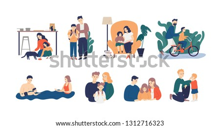 Bundle of happy loving family scenes. Good parenting and nurturing. Care, trust and support between parents and children. Mother and father educating and teaching their kid. Flat vector illustration.