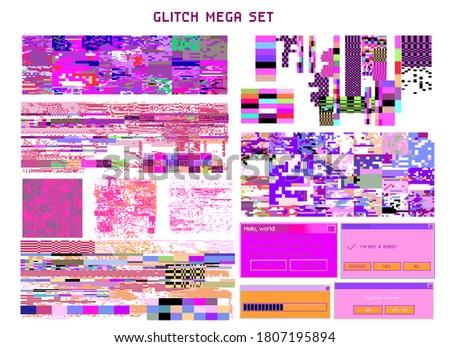 Bundle of HUD elements and glitch overlays. Computer screen error, digital pixel noise design. stock photo