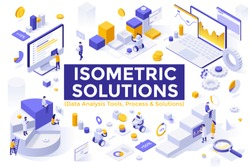 Bundle of isometric design elements or symbols isolated on white background - big data analysis tools, statistical, financial, business analytics, market research. Modern vector illustration.