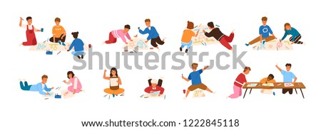Bundle of kids painting and drawing on paper isolated on white background. Creative hobby for children. Cute boys and girls creating pictures. Colorful vector illustration in flat cartoon style.