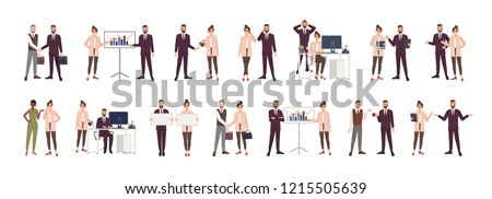 Bundle of male and female office workers, clerks or managers talking to each other, negotiating, discussing work issues, shaking hands, brainstorming. Vector illustration in flat cartoon style.