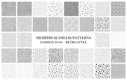 Bundle of Memphis seamless patterns. Fashion 80-90s. Black and white textures.