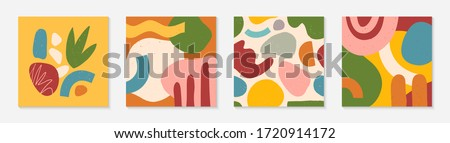 Bundle of modern vector collages with hand drawn organic shapes,textures and graphic elements.Trendy contemporary design perfect for prints,social media,banners,invitations,branding design,covers Foto stock ©