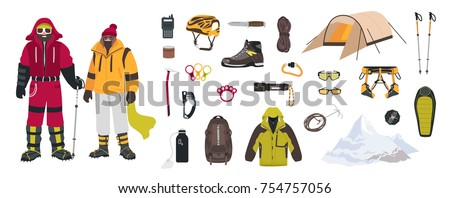Bundle of mountaineering and touristic equipment, tools for mountain climbing, clothing, male and female mountaineers or climbers isolated on white background. Colorful cartoon vector illustration.