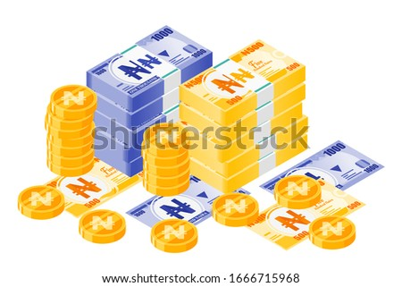 Bundle of Nigerian Naira Banknotes money and gold coin vector isometric design. Nigeria Currency, business, finance and Payment element. Can be used for web, mobile, infographic, & print.
