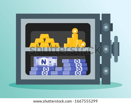 Bundle of Nigerian Naira Money, Gold, and Coin in a high security level metal safe vector illustration flat design. Nigeria Payment & Finance element. Can be used for web, mobile, infographic & print.