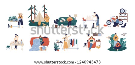 Bundle of people enjoying their hobbies - home gardening, papercraft, bushcraft, books reading, motorcycle customization, calligraphy, fashion blogging, knitting. Flat cartoon vector illustration.