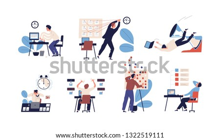 Bundle of people unable to organize their tasks and failing to fit them in schedule. Set of scenes with inefficient and ineffective time management and multitasking. Flat cartoon vector illustration.