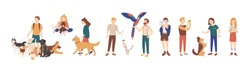 Bundle of pet owners isolated on white background. Collection of men and women holding their domestic animals, walking and playing with them. Set of male and female characters. Vector illustration.