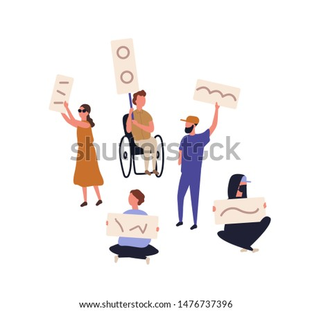 Bundle of protesters holding banners and placards. Set of people taking part in picketing, mass meeting, rally, political protest movement. Protesting men and women. Flat cartoon vector illustration.