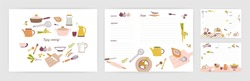 Bundle of recipe card templates for making notes about preparation of food and cooking ingredients. Clean cookbook pages decorated with colorful kitchen utensils and vegetables. Vector illustration