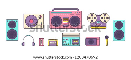 Bundle of retro analog music players, reel-to-reel and cassette recorders, turntable, headphones, mic, loudspeakers isolated on white background. Set of devices from 90s. Colored vector illustration.