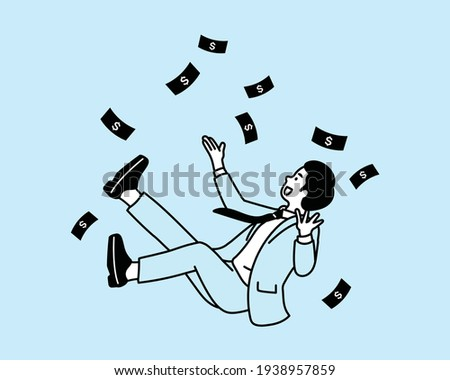 Bundle of rich men and women . Set of careless wealthy people, moneybags or nouveau riches throwing money bills, carrying and hiding them. Cartoon vector illustration. Stock photo ©
