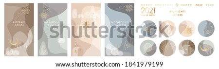 Bundle of round highlight stories covers. Vector layouts kit with minimal golden Ox - 2021 New Year mascot, snowflakes, winter landscape. Abstract modern trendy design for social media marketing ad
