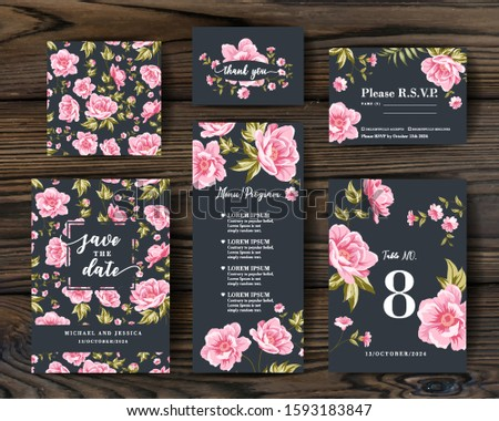 Bundle of Save The Date and RSVP Invitation Card. Invitation card with Peony background. Set of Floral vertical template with garden blooming flowers.