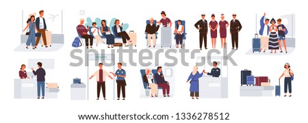 Bundle of scenes with tourists or aircraft passengers. Friends, families with children, couples at check-in, airport baggage reclaim area, waiting hall or in plane. Flat cartoon vector illustration.
