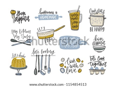 Bundle of slogans written with cursive font and decorated with cookware and food products. Set of inscriptions and kitchen utensils for cooking or homemade meals preparation. Vector illustration 商業照片 ©