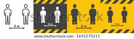Bundle of Social Distancing Sign 2 metre (m.) or 6 Feet (ft.) To Stop Coronavirus 2019 or Covid-19 Spreading With Outline Line and Solid Glyph Icon. Modern Human People Design Vector. EPS 10. Zdjęcia stock ©