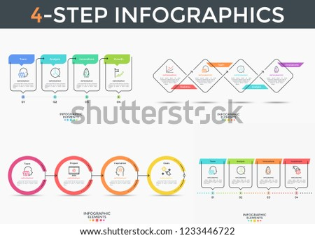 Bundle of 4-stepped infographic design templates with round, square and rectangular elements connected by arrows. Vector illustration in flat style for business plan or progress visualization.