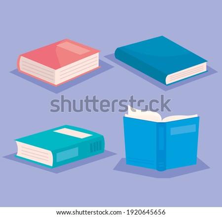 bundle of text books literature icons vector illustration design Foto stock ©