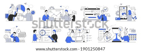 Bundle of time management and planning concept. Business people successfully doing various business activities. Set of minimal style flat cartoon vector illustrations