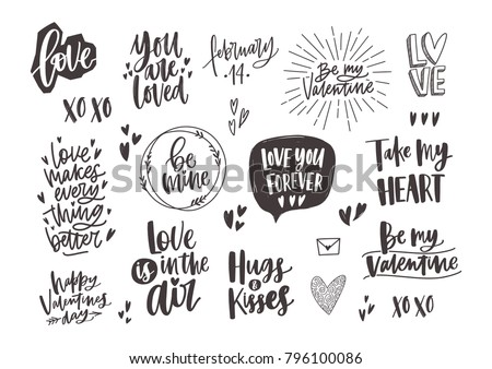 Bundle of trendy monochrome Valentine's day letterings with various phrases, quotes and wishes decorated by hearts hand drawn in black and white colors, design elements. Holiday vector illustration.