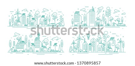 Bundle of urban landscapes with eco city using modern ecologically friendly technologies - wind power, solar energy, electric transportation. Monochrome vector illustration in line art style.
