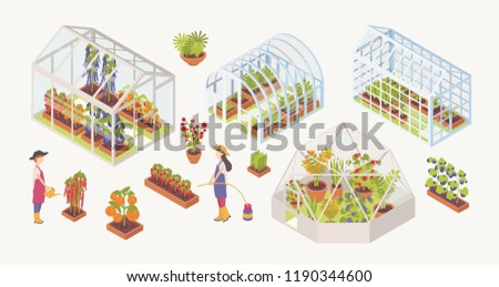 Bundle of various glass greenhouses with plants, flowers and vegetables growing inside, gardeners, farmers or agricultural workers isolated on white background. Colorful isometric vector illustration.