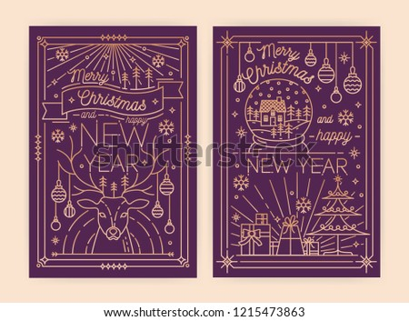 Bundle of vertical Christmas and New Year greeting card, flyer, poster or party invitation templates with holiday wishes and traditional decorations drawn in line art style. Vector illustration.