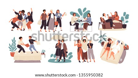 Bundle of young women or girl friends spending time together - drinking tea at cafe, walking with umbrella, pillow fighting, shopping, taking selfie. Cute cartoon characters. Flat vector illustration. #1355950382