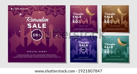 bundle Social Media Post Ramadhan Sale, vector eps 10 template ramadhan sale multiple color.
