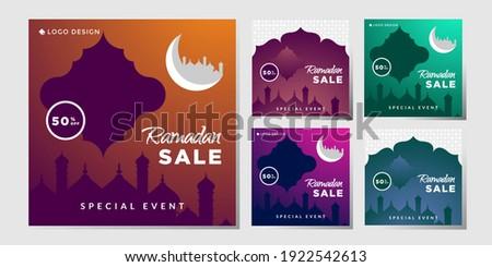 bundle Social Media Post Ramadhan Sale, vector eps 10 template ramadhan sale shape of moon, mosque. modern banner islamic.