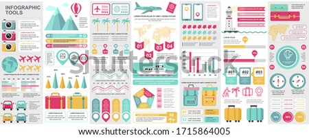 Bundle travel infographic UI, UX, KIT elements with charts, diagrams, summer vacation, flowchart, travel timeline, journey icons elements design template. Vector info graphics and infographics set.