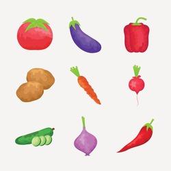 bundle watercolor food set icons