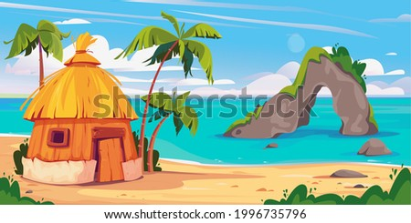 Bungalow in Maldives island with palm trees and tropical flowers, vector banner of resort water villas. A hut by the ocean, a rock with a cave in the sea. Hawaii resort. Template for text. Photo stock ©