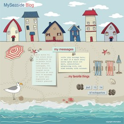 Bungalows and Cabanas on a sandy beach, with lounge chairs, parasols and sea treasures spread around pages for the blog and web site layout, template