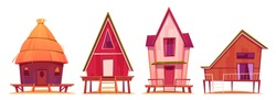 Bungalows, beach summer houses on piles with terrace, wooden private buildings, villas, hotel, cottages residential homes, apartments, living property, Cartoon vector illustration, isolated icons set
