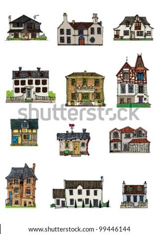 bungalows - set - cartoon