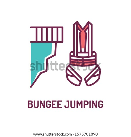 Bungee jumping and body harness color line icon. Extreme sport. High jump. Jump down. Pictogram for web page, mobile app, promo. UI UX GUI design element. Editable stroke.