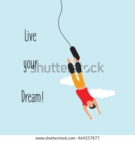 bungee jumping with text live