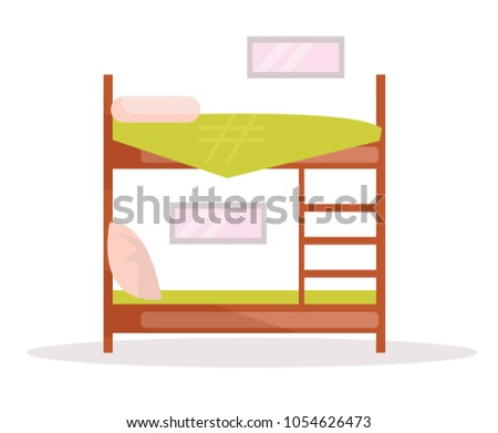 cartoon bunk bed. Bunk Bed. Vector. Cartoon. Isolated Art On White Background. Flat Cartoon Bed