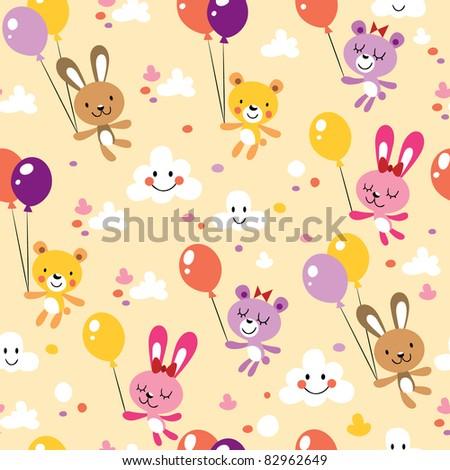 bunnies and bears cute seamless pattern