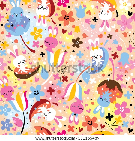 bunnies & flowers pattern
