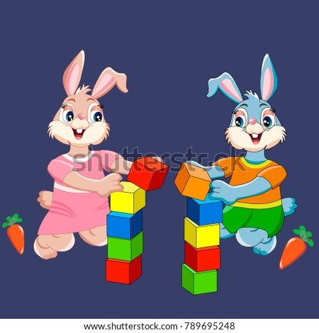 bunnies with cubes on blue background