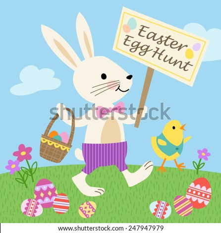 bunny and chick easter egg hunt