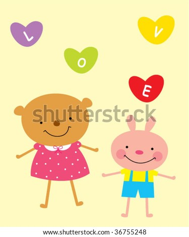bunny and teddy love - stock vector